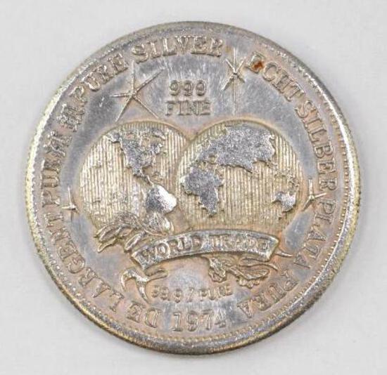 1974 World Trade 1oz. .999 Fine Silver