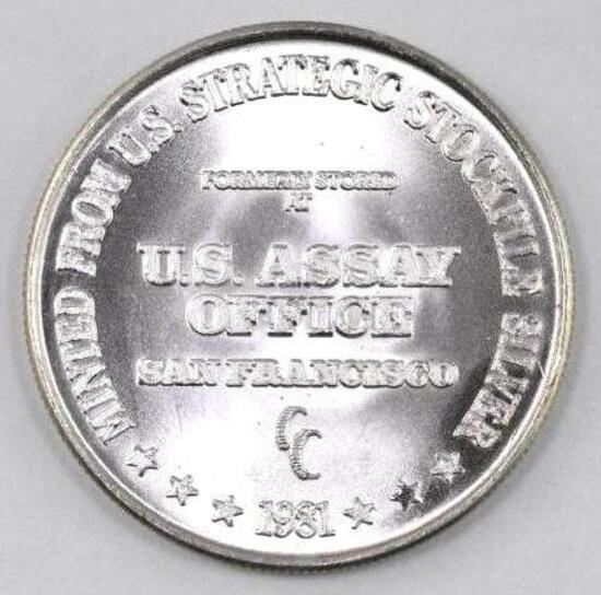 1981 U.S. Assay Office 1oz. .999 Fine Silver