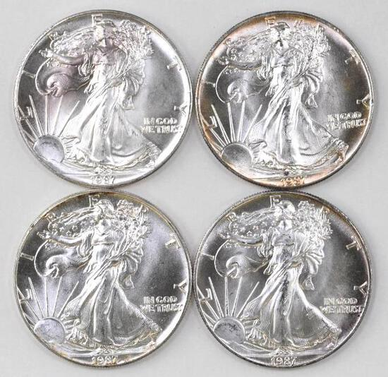 Group of (4) 1987 American Silver Eagle 1oz
