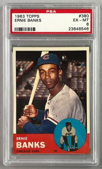 1963 Topps Baseball Ernie Banks Card PSA 6
