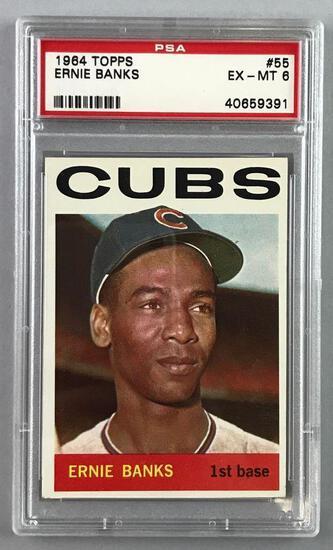 1964 Topps Baseball Ernie Banks Card PSA 6