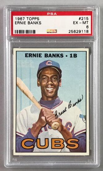 1967 Topps Baseball Ernie Banks Card PSA 6