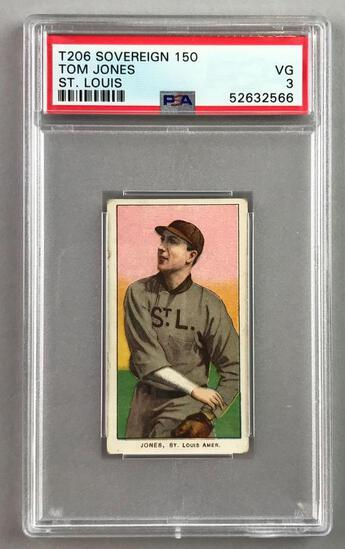 T206 Sovereign 150 Subjects Baseball Series, Tom Jones, St. Louis PSA 3