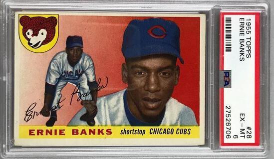 1955 Topps Baseball Ernie Banks Card PSA 6