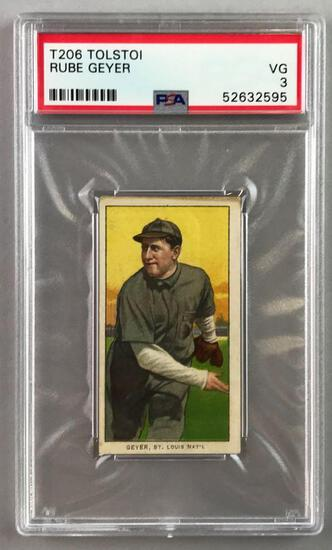T206 Tolstoi Assorted Subjects Baseball Series, Rube Geyer PSA 3
