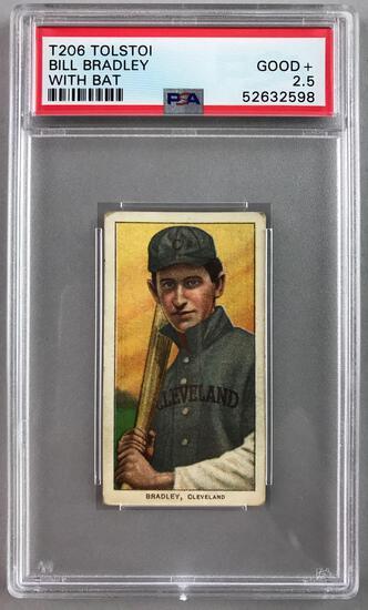 T206 Tolstoi Assorted Subjects Baseball Series, Bill Bradley PSA 2.5