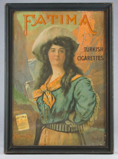 A vintage color Lithograph advertising FATIMA Cigarettes, 20 for 15 cents. Dated 1907, Copyright by