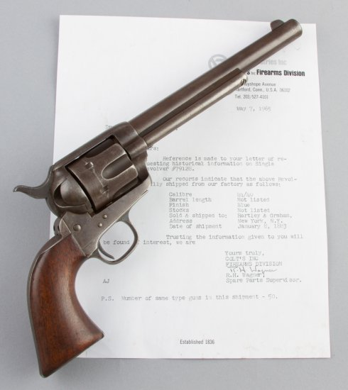 Colt Single Action Army made in 1883.  The Colt Archive letter confirms this Colt SAA, serial number