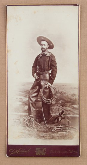 "Vintage, ""C.D. Kirkland Cheyenne, Wyo."" marked Cabinet Card, 4"" x 8 3/16"", of a well dressed cowboy,"