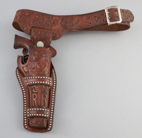 "Outstanding, ""H.H. Heiser, Denver Co."" marked, spotted and highly tooled Buscadero Holster and Belt"