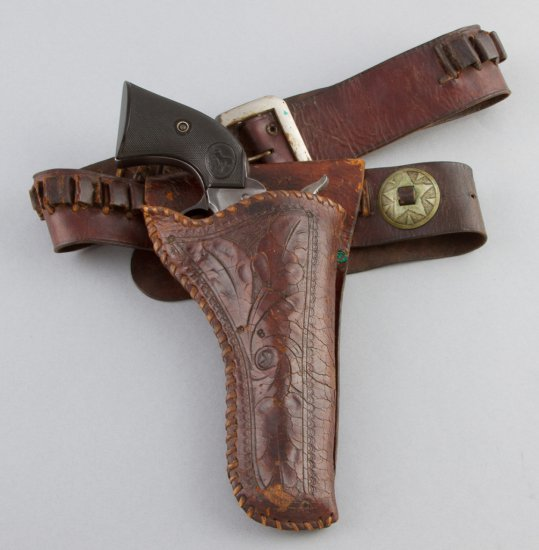 Vintage, floral carved Holster with Cartridge Belt.  Holster appears to have been modified from a lo