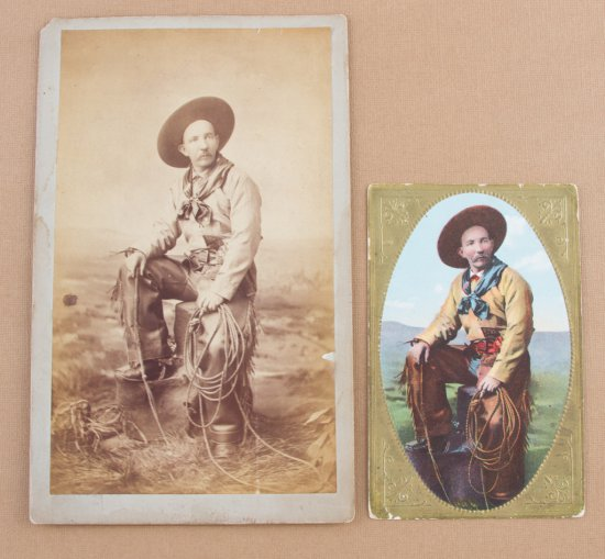 Vintage Cabinet Card and matching color Post Card of cowboy with fringed chaps, lariat & Colt single
