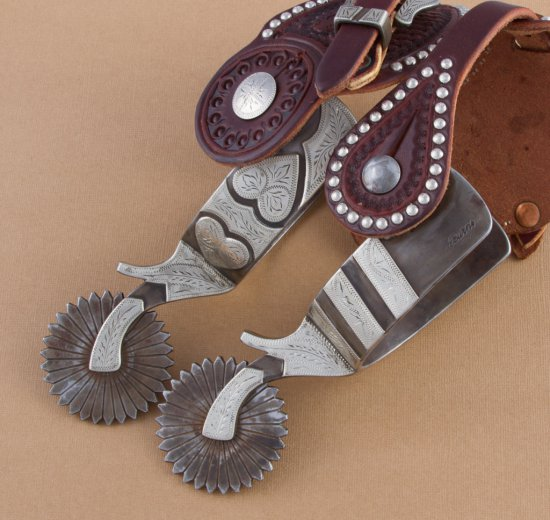 Fantastic pair of double mounted Spurs by noted Texas Bit and Spur Maker, Kevin Burns, in the double