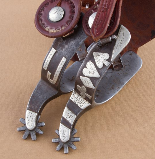 Fine pair of Billy Klapper marked Spurs.  Spur # 157, with hand engraved card suit pattern and ranch