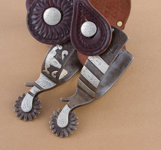 Fine pair of double mounted Spurs by the late Texas Bit and Spur Maker Jerry Cates.  Spur # 3072, wi