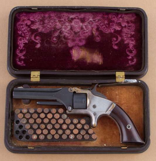 Cased Presentation Smith & Wesson, #1 Second Issue, 7 shot Revolver,  22 SHORT cal., SN 20888, manuf