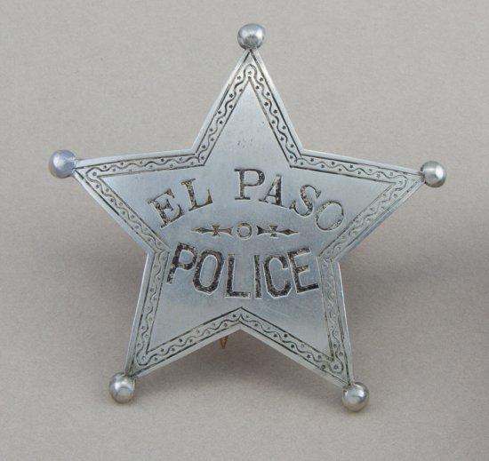 "5- point ball star Badge, El Paso Police.  Hallmark ""Northwestern Stamp Works- St. Paul Minn."" Repai"