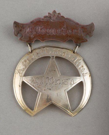 "Gold Suspension Badge, Crescent Star, 18 Kt gold, ""J.P. Stumcock Asst. Marshall El Paso"".  2 3/4""  t"
