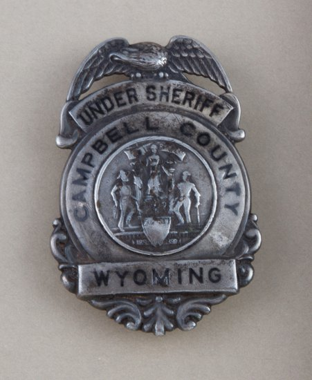 "Under Sheriff Campbell Co. Wyoming Badge, eagle crest shield, 2 3/4"" tall.  Hallmark  ""C.D. Reese, 5"