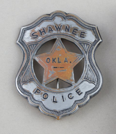 "Shawnee Oklahoma Police Badge, shield with cut out star, 2 3/4"" tall, with jeweled enamel showing ho"