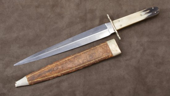 """Ricasso marked """"V Crown R/Cast Steel/Sheffield"""", 14 3/4"""" overall, 9 3/4"""" spear point double edged bl"""