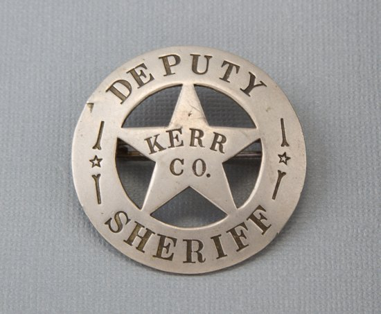 """Deputy Sheriff, Kerr Co., Texas Badge, circle star, 1 3/4"""", early 1900s.  George Jackson Collection."""