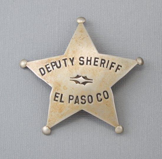 "Deputy Sheriff, El Paso Co. Badge, five point ball star, 2 3/4"" across points, showing nice even wea"