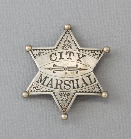 """Ornate City Marshal Badge, six point ball star, 2 5/8"""" across points, turn of the century.  George J"""