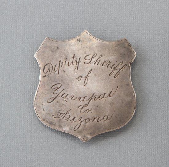"Shield shaped Badge, Deputy Sheriff of Yavapai Co., Arizona, 2 1/4"" tall, early jeweler made, pre-19"
