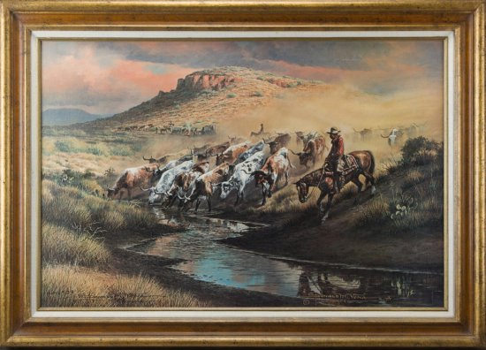 """Hand signed and numbered Western Print by noted San Antonio, Texas artist Donald M. Yena, titled """"Tr"""