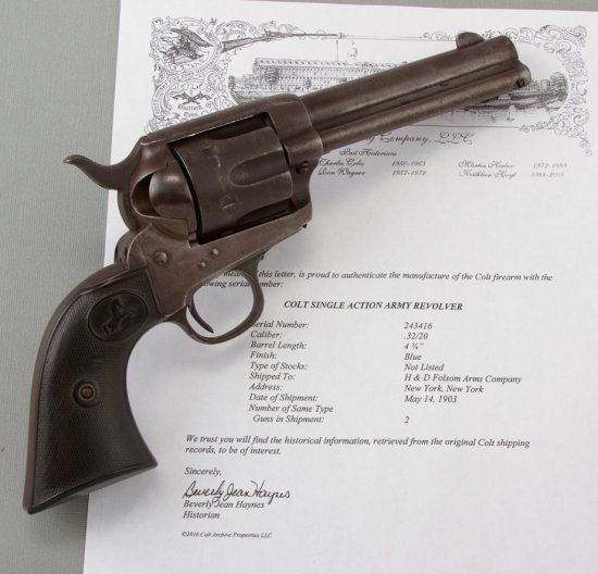 Colt Single Action Army Revolver in .32/20 caliber.  This Colt has matching serial number 243416 on