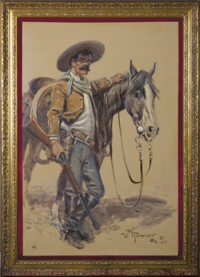 """Large original Oil on Canvas by noted CA artist, John W. Hampton (1918-2000), titled """"Clay Allison"""","""