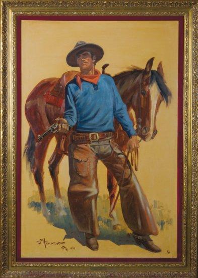 "Large original Oil on Canvas by noted CA artist, John W. Hampton (1918-2000), titled ""Black Jack Ket"
