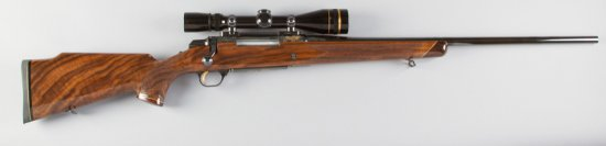 """Cased Browning, BBR, 7MM Caliber, SN 00173PX617, 24"""" barrel, blue finish, factory engraved with gold"""