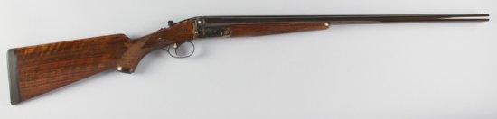 "Cased Merkel, Side By Side Shotgun, 20 Gauge, SN 381270, 27"" barrel, blue finish, checkered pistol g"