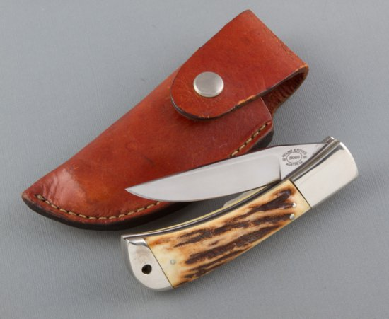 Unique hand made folding blade Hunting Knife, marked Wano Knives, Austin, TX.  Made by Master Knife
