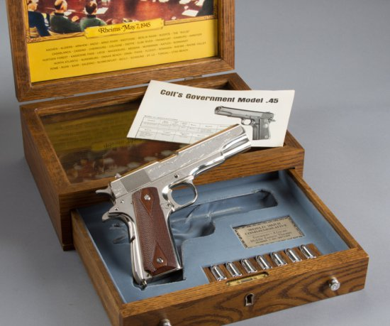 Factory engraved Colt WWII Commemorative, Model 1911, Semi-Automatic Pistol, .45 ACP Caliber, SN 140
