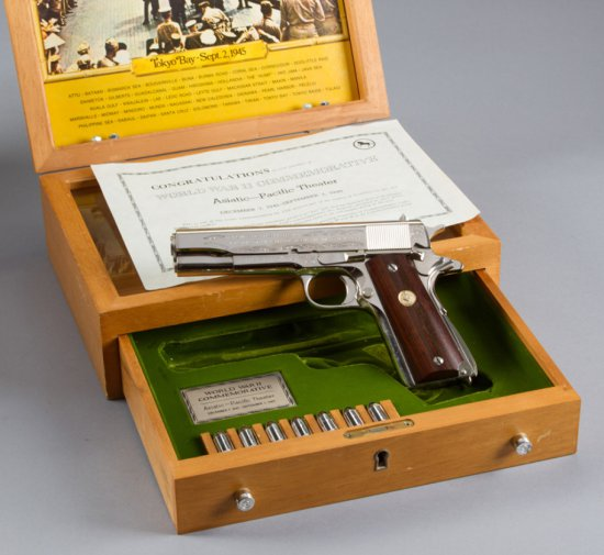 Factory engraved Colt WWII Commemorative, Model 1911, Semi-Automatic Pistol, .45 ACP Caliber, SN 157