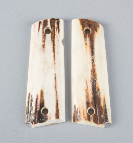 Pair of polished stag horn Grips for a Model 1911 Automatic.