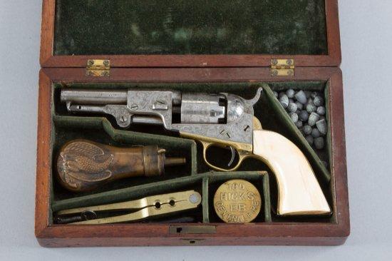 "Antique cased Colt, Model 1849, 5-shot Revolver, .31 Caliber, SN 139590, all matching numbers, 4"" ba"