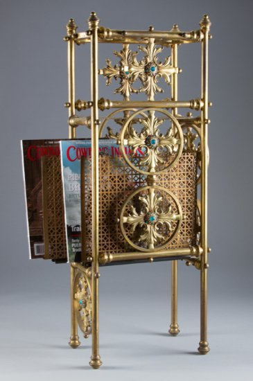 Very desirable and scarce Victorian brass Canterbury with jeweled center, circa 1890-1900, with doub