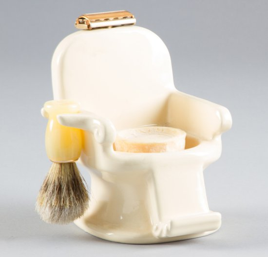 """Unique and very unusual porcelain Shaving Stand shaped like a barber chair, 6"""" T x 5"""" W, will be acc"""