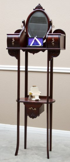 Very unusual antique Mahogany Shaving Stand, circa 1900-1910, with oval beveled glass shaving mirror