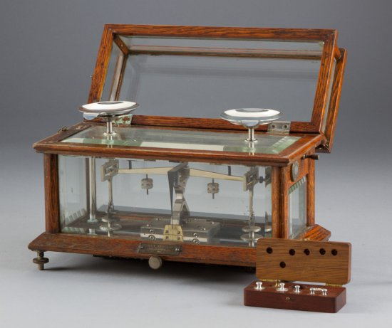 Extremely fine, antique oak case Balance Scales with beveled glass & weights, by Henry Troemner, Mak