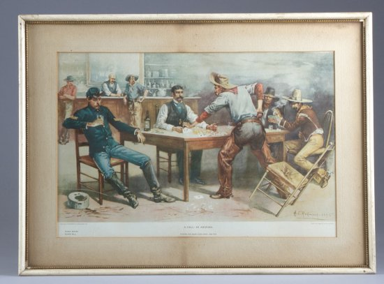 Very desirable and original framed Lithograph by American Lithograph Co., plate No. 5, Poker Series,