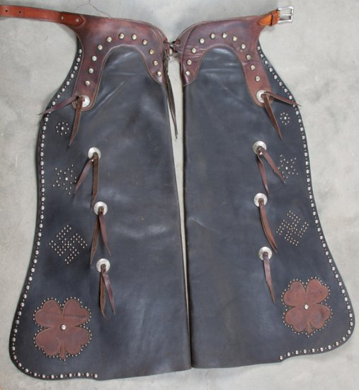 """Outstanding pair of spotted two-tone leather Bat Wing Chaps marked """"Victor Ario Saddlery Co., Great"""