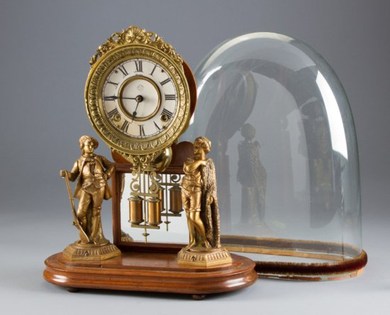 """Scarce antique """"Crystal Palace, No. 1"""", by Ansonia Clock Co., crystal dome measures 18"""" tall, 8 1/2"""""""