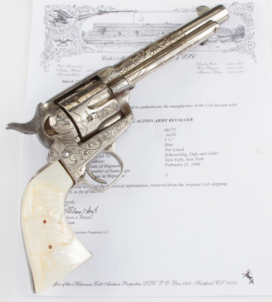 New York Style Engraved, Etched Panel Colt, Single Action Army Revolver with carved steer head pearl