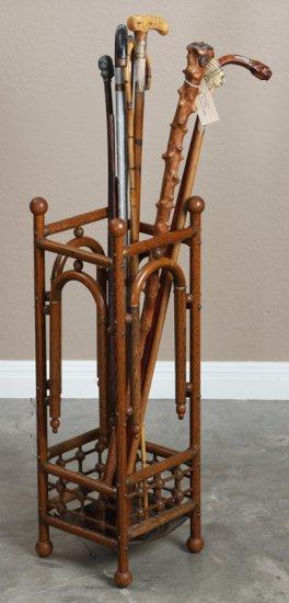 Antique Victorian oak, stick & ball Cane & Umbrella Stand, circa 1900, in original finish with origi