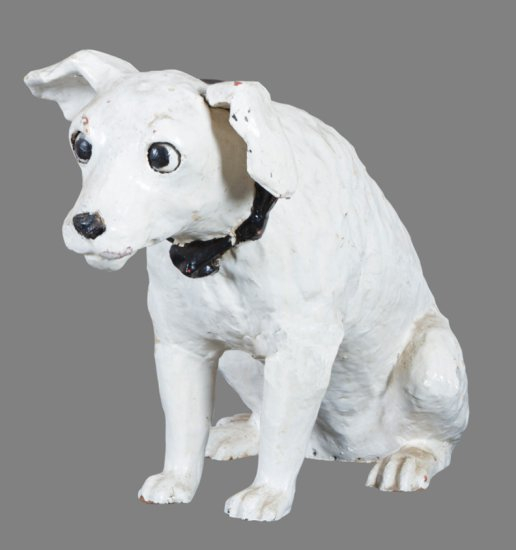 Rare, highly collectible antique Papier Mache Dog Mascot for Victor Talking Machines, circa 1910, wi